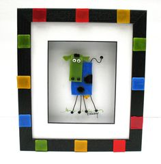 Whimsical fused glass cow shadowbox picture by FaithWickey on Etsy, $60.00