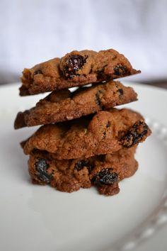 Chocolate Pecan Cherry Cookies #vegan #wholewheat