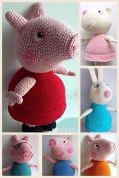 Peppa, George, Mummy, Daddy Pigs, Ms.Rabbit, Rebecca Rabit, and Suzy Sheep crochet toys patterns (English), PDF format. from Ambercraftstore on Etsy Studio