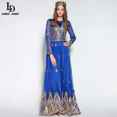 Runway Maxi Dress Autumn Winter Women Floor Length Embroidery Long Dress $93.05   => Save up to 60% and Free Shipping => Order Now! #fashion #woman #shop #diy  http://www.clothesdeals.net/product/ld-linda-della-2016-runway-maxi-dress-autumn-winter-women-floor-length-gorgeous-noble-voile-gold-line-embroidery-long-dress