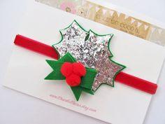 Christmas Holly Headband- Baby/Girls Felt Headband, Glitter Christmas Holly Headband, Red and Green Holiday Headband on Etsy, $14.95