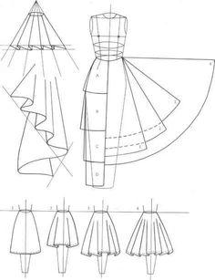 Falda acampanda, media campana, evasé, esquemas de patrón de costura More