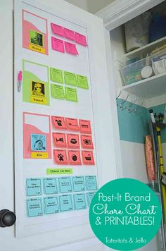 post-it-chore-chart-and-printables-at-tatertots-and-jello. Shows how to print onto post-it notes! Chore List, Chores For Kids, Family Organizer, Life Organization, Household Organization, Getting Organized, Cleaning Hacks, Daily Cleaning, Cleaning Checklist