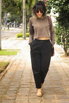 Moda Custom: Meu look: Alfaiataria, cropped e sapatilha