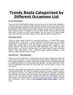 boots of good quality u last several years as well as are good purchases. Choose a reliable and trustworthy store in order to buy footwear boots online India.
