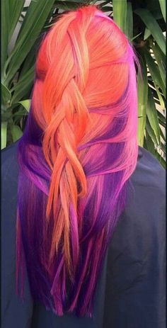 Loving this sunset inspired hairstyle!! She tied it into a loose bun that molded the colors together nicely. Use the NuMe Argan Oil to achieve healthy and sheen hair like this!!