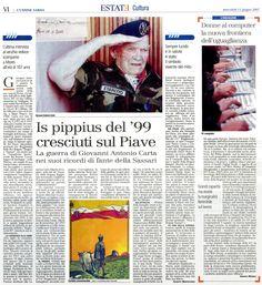 """Unione Sarda. 13.06.2007. Alberto Monteverde. """"Is pippius del '99 cresciuti sul Piave""""."""