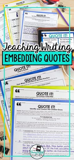 Help students write with quotes. Teach your students how to properly embed, cite, and explain quotes in their writing with this common core aligned lesson! Students will learn four different ways to embed quotes in their writing. Teaching Literature, Teaching Writing, Writing Activities, Teaching Tools, Teaching English, College Teaching, Kindergarten Writing, Teaching Ideas, Education English