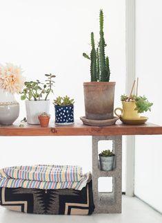 estante com bloco de concreto #decor #DIY #shelves