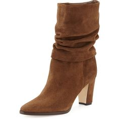 "Manolo Blahnik suede boot. 2 3/4"" covered heel. 7 1/2""H ruched shaft. 12 1/4"" circumference. Almond toe. Pull-on style. Leather lining and sole. ""Knight"" is mad..."