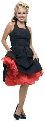 Red Above the Knee Nylon 1950s style crinoline Petticoat Slip - One Size $76.00