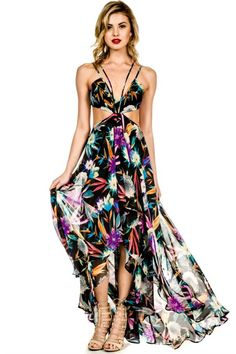 We are absolutely crazy in love with this stunning maxi dress! Our Electric Feel maxi dress features a bold tropical print with side cutouts, halter neck and open back. We cannot wait to we Casual Party Dresses, Maxi Dresses, Floral Dresses, Cocktail Bridesmaid Dresses, Holy Chic, Different Dresses, Dresser, Glamour, My Style