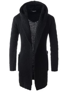 (TNC06) Mens Slim Fit Hooded 2 Pocket Shawl Collar Knitted Long Sleeve Cardigan BLACK Chest 38(Tag size M)