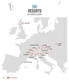 Which aiports are near the most popular ski resorts in Europe? Check our new infographic and all details at www.whichairline.com