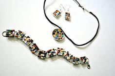 Etsy Mosaic Jewelry - 3 Piece Set - Sophia - Ceramic Mini Tiles - Bracelet, Earrings, Pendant - Mid-Century Modern Designs - Holiday Gift #bestofEtsy #design