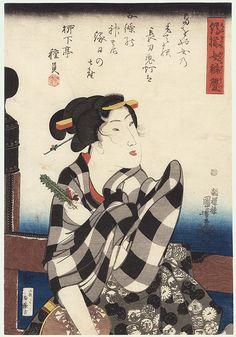 On a Bridge  by Kuniyoshi (1797 - 1861)