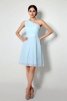 Charming Knee-length One Shoulder A-line Chiffon Bridesmaid Dresses – Angrila  #angrila #blue #chiffon #bridesmaids  #weddings