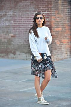 Garden Tulles | chiffon floral dress, layering sweater, floral bag, layers, metallic sneakers, fall fashion, fall outfit ideas, fall laters, fall style 2016, nyc street style, brooklyn style, fashion blogger #tobebright - http://tobebright.com/garden-tulles/