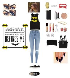 """""""Batman inspired"""" by shamy24 ❤ liked on Polyvore featuring moda, River Island, Forever 21, Charlotte Russe, Marc by Marc Jacobs, Marc Jacobs, Maybelline, L'Oréal Paris, Lancôme e Hanky Panky"""