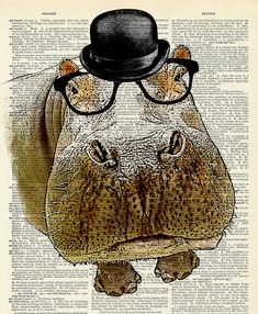 Hippo with Bowler hat and glasses. Vintage book page art print. Cute Hippo, Baby Hippo, Fiona The Hippo, Book Page Art, Collaborative Art, Animal Wallpaper, Animal Party, Word Art, Pet Birds