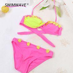 6b34df7a9 Aliexpress.com : Buy Contrast Color Light Sweet Children Two Piece Bikini  Set Split Girls Kids Child Flowers Floral Swimsuit Swimwear Bathing Suit  from ...