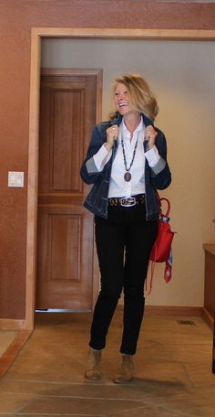 You can never go wrong with black jeans, white shirt and denim jacket. All basic pieces that work perfect ...