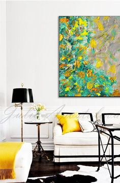 Yellow and Green Abstract Painting Modern Art by JuliaApostolova
