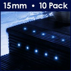 MiniSun Pack of 10 '15mm' Blue Recessed LED Indoor/Outdoor Plinth Lights