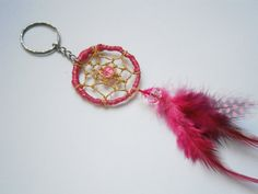 Pink Dreamcatcher keychain  Beaded Key Ring  Feather by Sulkakissa, €10.00