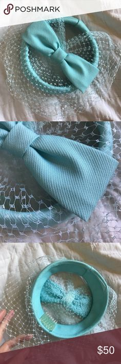 Tiffany Blue Wedding Caplet Bow Net Hat Vintage Baby blue! So sweet and cute. Excellent condition. Smoke free home. No holes in Mesh. Has clip to keep in hair. Old school kitsch vintage round cap. Perfect for Galla, prom or something blue at a wedding. Dress up 50's. 1950s cosplay. Vintage Accessories Hats