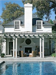 Maybe pool off back of house like this with outdoor living/dining space and outdoor fireplace. Outdoor Living Rooms, Outside Living, Outdoor Spaces, Outdoor Seating, Living Spaces, Outdoor Patios, Outdoor Pergola, Outdoor Kitchens, Outdoor Chairs