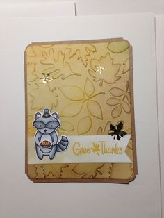 Give Thanks card using Lawn Fawn Holiday Party Animal stamp set and Stampabilities Fall Holidays stamp set