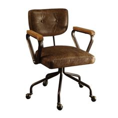 Vintage Chair Metal Acme Furniture Hallie Vintage Whiskey Top Grain Leather Office Chair The Home Depot Acme Furniture Hallie Vintage Whiskey Top Grain Leather Office Chair Office Chairs Online, Executive Office Chairs, Desk Office, Stylish Chairs, Acme Furniture, Brown Furniture, Apartment Furniture, Furniture Outlet, Furniture Stores