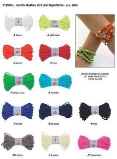 nastri elastici di vari colori per creare braccialetti