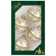 Picture of Cream, Gold with Braid Ornaments- Set of 4 Gold Christmas Decorations, Christmas Bulbs, Holiday Decor, Cream And Gold, Braids, Food, Closet, Bang Braids, Cornrows