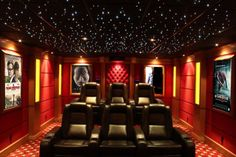 movie room: I like the lighting in the posters on the wall... need ...