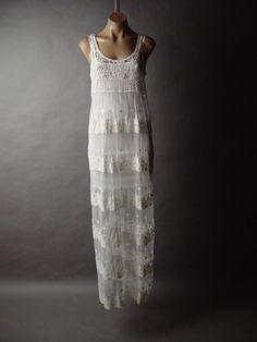 Crochet Tulle Lace Victorian Bohemian Chemise Slip Long Maxi 10 MV Dress s M L | eBay