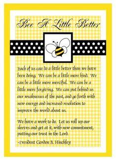 YW Class Presidency Training - Bee a Little Better
