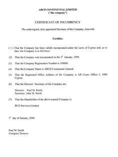 printable sample certificate of incumbency form - Certificate Of Incumbency Template
