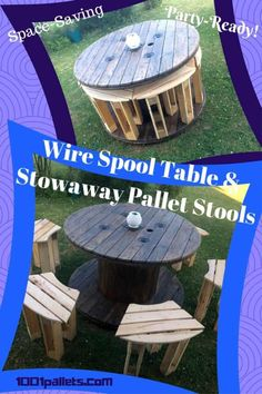 I upcycled a Wire Spool and turned it into this Stowaway Pallet Stool Project. It features four comfortable seats that neatly store in the spool. Wooden Spool Tables, Cable Spool Tables, Wooden Spools, Cable Spool Ideas, Cable Spools, Pallet Stool, Wooden Pallet Furniture, Wood Pallets, Pallet Couch