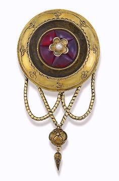 Garnet and seed pearl brooch, c. 1870.