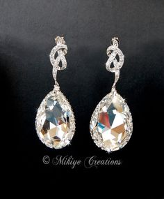 Large Bridal Chandelier Swarovski Crystal Cubic Zirconia Drop Earrings Priscilla on Etsy, $69.00