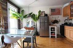 Name: Joey Krietemeyer, Senior Designer at 1stdibs.com, Antoni, and one very well loved Fiddle Leaf Fig Location: Clinton Hill, Brooklyn Size: 600 square foot studio Years lived in: 3 years; Rented Walking into Joey and Antoni's studio apartment is not like walking into other studios in New York. They have managed to create a home that feels open and spacious, but still has distinctly separate living areas. Details abound that catch the eye without cluttering up the space. Their home feel...