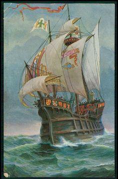 Santa Maria Columbus Ship Historical Sail boat original old 1920s postcard
