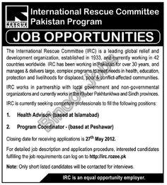 Health Advisor and Program Coordinator Wanted in Islamabad and Peshawar