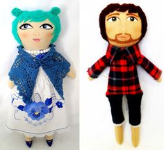 Jennie of A Little Vintage hand painted dolls custom made from her clients sentimental items