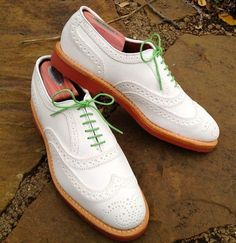 Handmade Men's Oxford White Leather With Brogue Toe Dress Formal Shoes Green lac - Dress/Formal