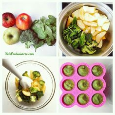 Apple, Broccoli and Spinach Purée - baby food making. - Videolu Tarif - World Food & Recipes Baby Food Recipes 6 9, Healthy Baby Food, Baby Puree Recipes, Pureed Food Recipes, Healthy Recipes, Baby Broccoli Recipe, Broccoli Recipes, Broccoli Baby Food, Toddler Meals
