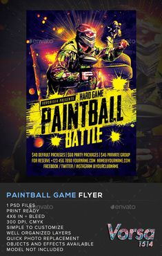 Paintball Game Flyer — Photoshop PSD #soldier #bash • Available here → https://graphicriver.net/item/paintball-game-flyer/11305364?ref=pxcr