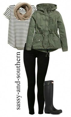 Fall vibes X Striped tee, beige scarf, green jacket, black leggings/jeans, black raining boots. Teen Winter Outfits, Fall Outfits, Casual Outfits, Winter Clothes, Winter Coats, Mode Outfits, Fashion Outfits, Womens Fashion, Teen Fashion